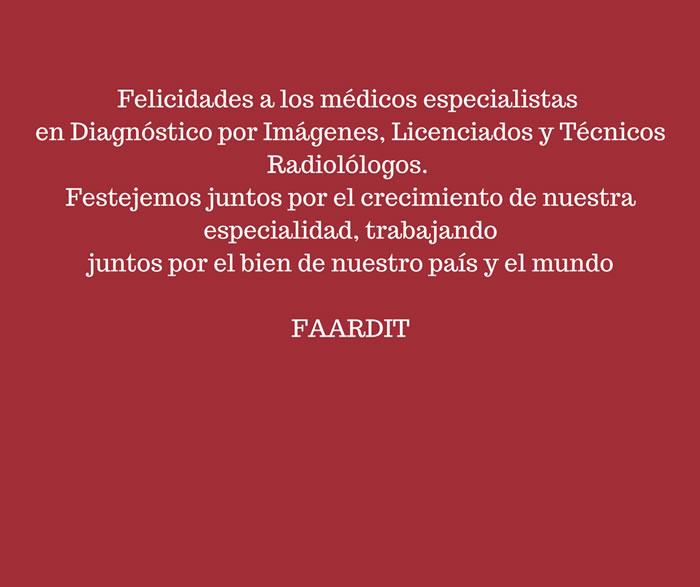 Felicidades a los Médicos Especialistas en Diagnóstico por Imágenes, Licenciados y Técnicos Radiólogos. Festejemos juntos por el crecimiento de nuestra especialidad, trabajando juntos por el bien de nuestro país y el mundo.
