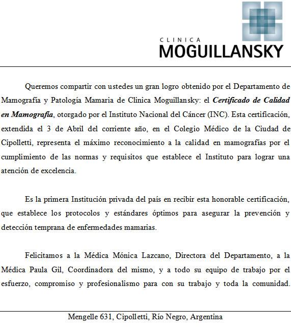 Carta Clínica Moguillansky